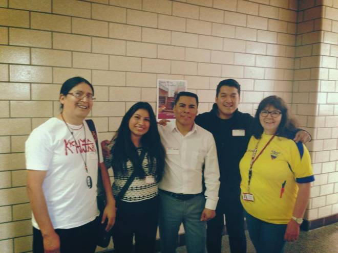 The Kichwa Hatari team (from left: Fabian Muenala, Jenny Angamarca, Segundo Angamarca, and Charlie Uruchima) in Ossining High School with ESL teacher Barbara Knowles to speak to Kichwa students about Kichwa Hatari.